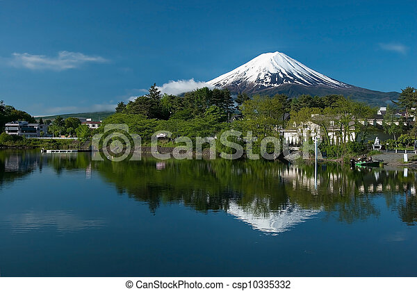 Mount Fuji from Kawaguchiko lake in Japan - csp10335332