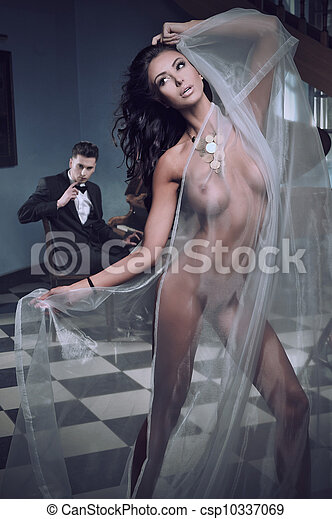 Sexy woman dancing to the piano music - csp10337069