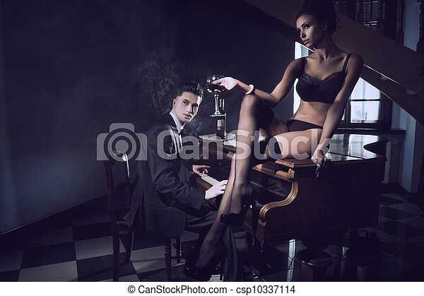 Sexy woman with glass of wine - csp10337114