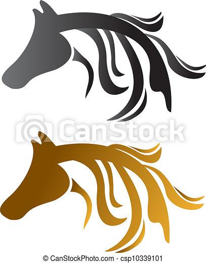 Head horses brown and black  - csp10339101