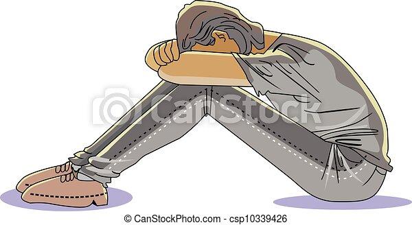 悲哀, 人, 插圖 - csp10339426 悲哀, 人, 頭, 膝蓋, 矢量, 插圖新增至我