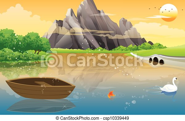 Boat on the Lake, illustration - csp10339449