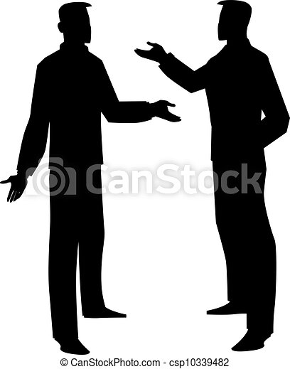 Silhouette of two men talking, illustration - csp10339482