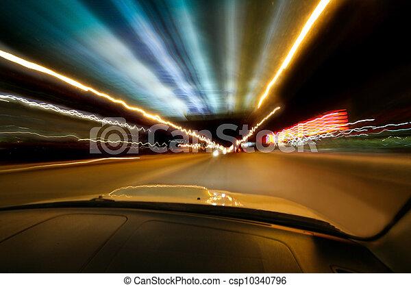 car goes on night city