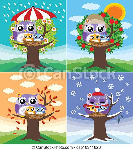 Ilustraciones de Vectores de búhos, cuatro, Estaciones csp10341820 ...