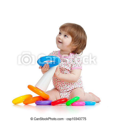 pretty little child or kid playing with color toy - csp10343775
