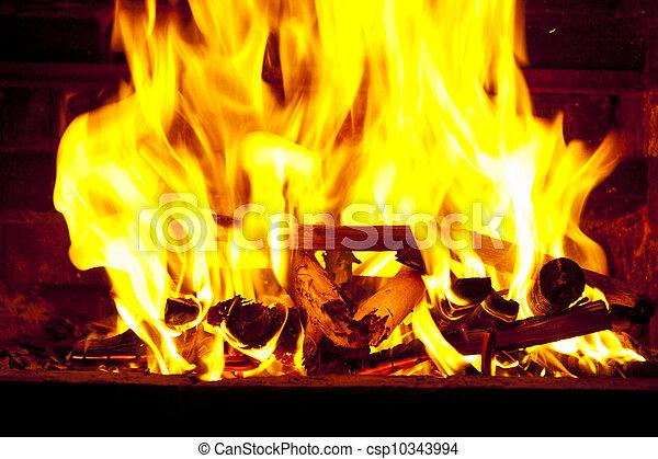 Огонь в камине видео