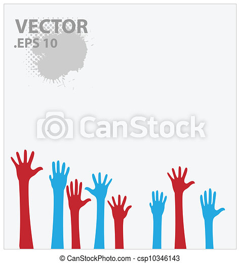 blue and red hands vector illustration - csp10346143