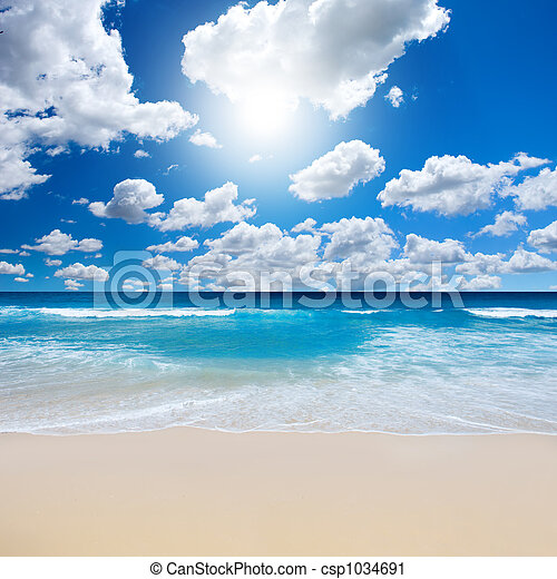 praia, paisagem, deslumbrante - csp1034691