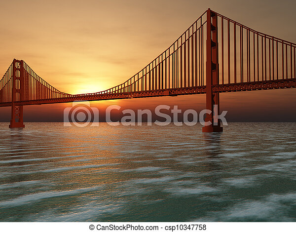 Golden Gate Bridge Illustration - csp10347758