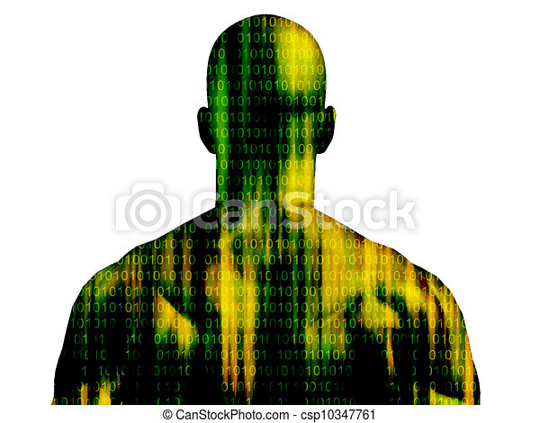 Binary code streaming on mans skin isolated on white - csp10347761