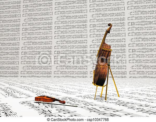 Violin and cello musical composition - csp10347768
