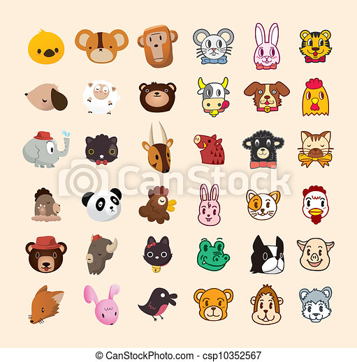 set of cute animal face icon - csp10352567