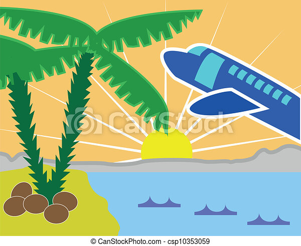 Clipart Vector of Tropical holiday island with beach and ...
