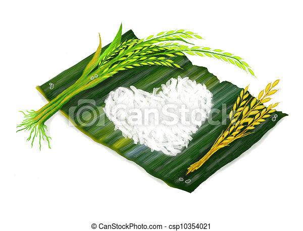 Rice Leaf Drawing Jasmine Rice Clip Art