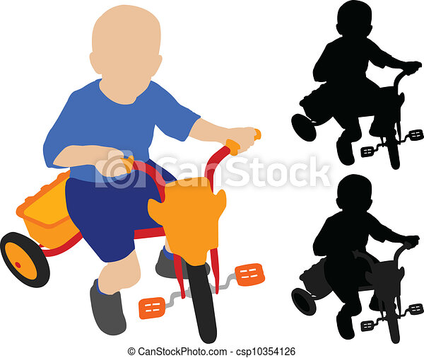 child riding tricycle - csp10354126