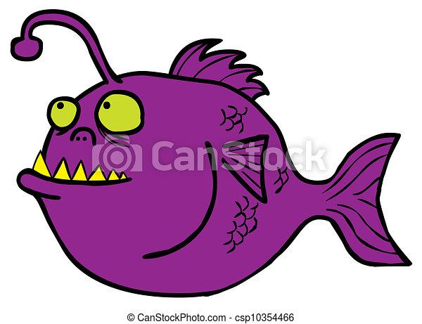 Clip Art Vector Of Fish Monster Represent A Deep Water