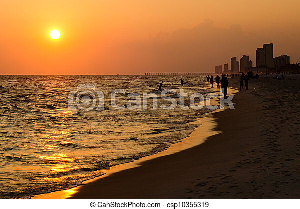 Shoreline of Panama City Beach at sunset - csp10355319