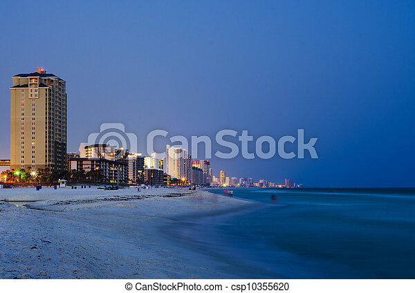 Panama City Beach Florida cityscape at night - csp10355620