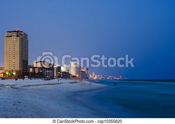 Panama City Beach Florida cityscape at night - csp10355620