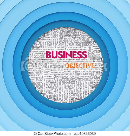 Business word cloud for business and finance concept, Business Objective - csp10356089