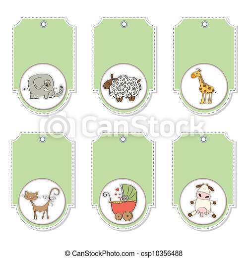 cartoon animals labels set - csp10356488