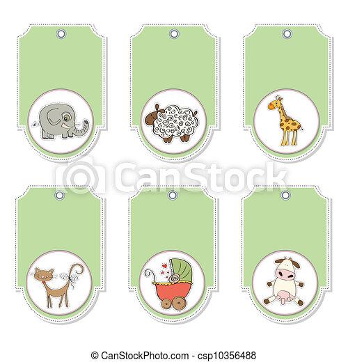 cartoon animals labels set - csp10356488
