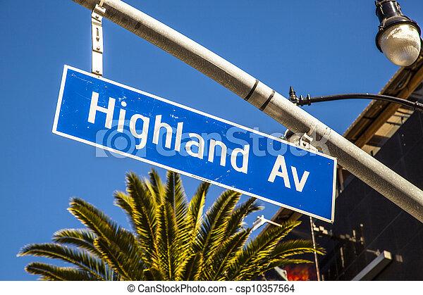 street sign Highland Av in Hollywood - csp10357564