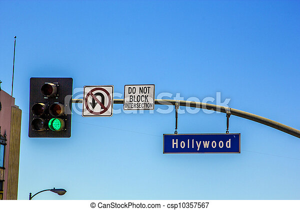 street sign Hollywood Boulevard in Hollywood - csp10357567