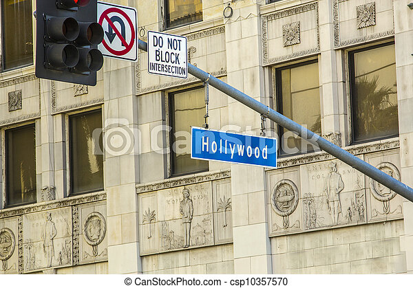 street sign Hollywood Boulevard in Hollywood - csp10357570