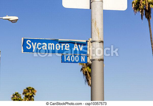 street sign Sycamore Av in Hollywood - csp10357573