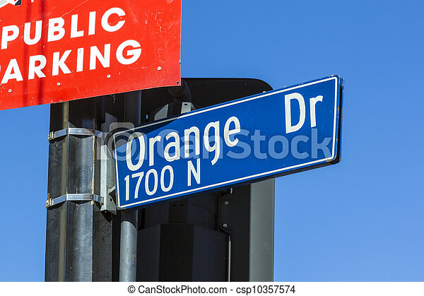 street sign Orange Drive  in Hollywood - csp10357574