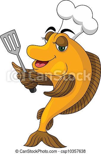 Vettori di cartone animato cuoco fish vettore - Cartone animato immagini immagini fantasma immagini ...