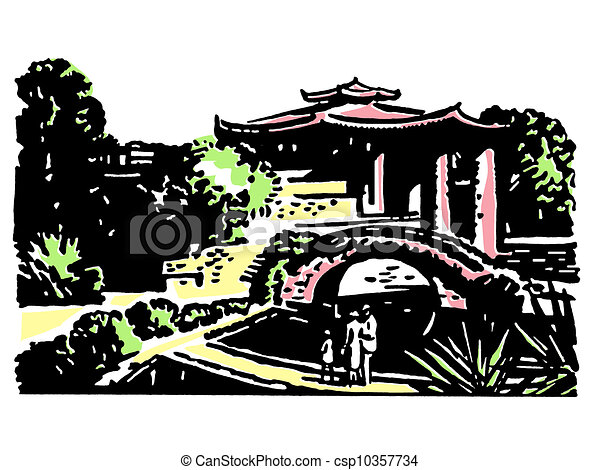 A vintage illustration of Japanese gardens - csp10357734