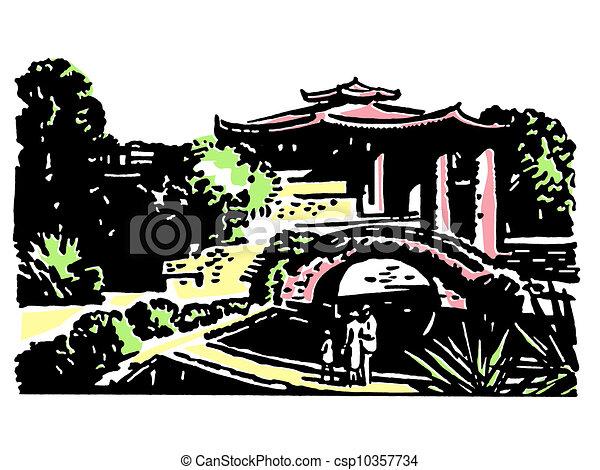 A vintage illustration of Japanese gardens - csp10357734