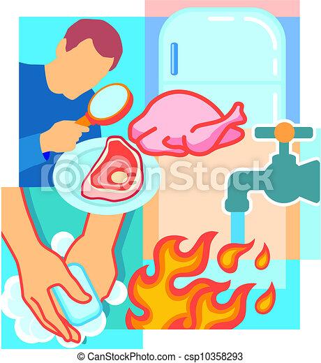 Person schauen fleisch vergrößern glas geflügel kühlschrank