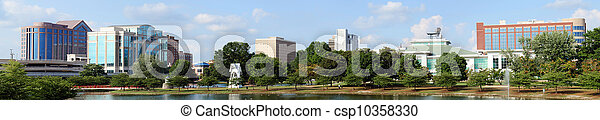 Panoramic cityscape of downtown Huntsville, Alabama from Big Spring Park - csp10358330