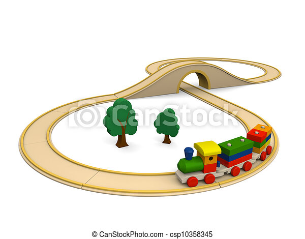 Wooden toy train with track - csp10358345