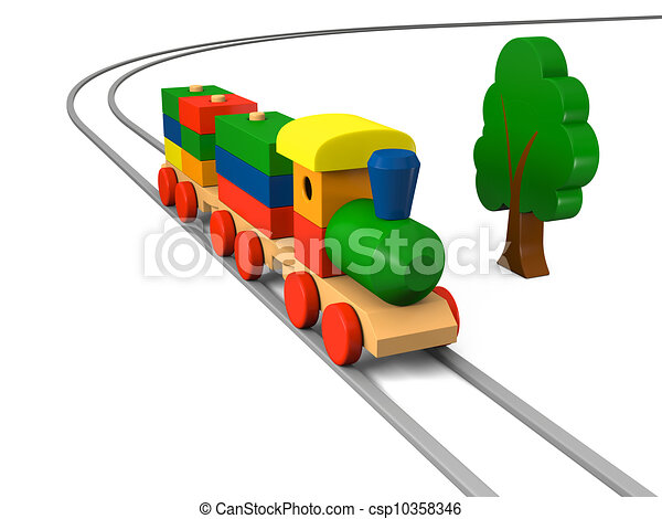 Drawing of Wooden toy train - 3D illustration of colorful wooden toy ...