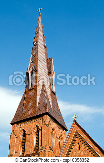 Steeple of historic church in Huntsville, Alabama with copy space - csp10358352
