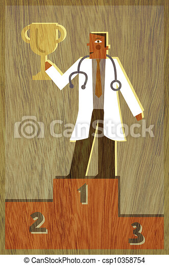 A physician standing in first place holding up a trophy - csp10358754