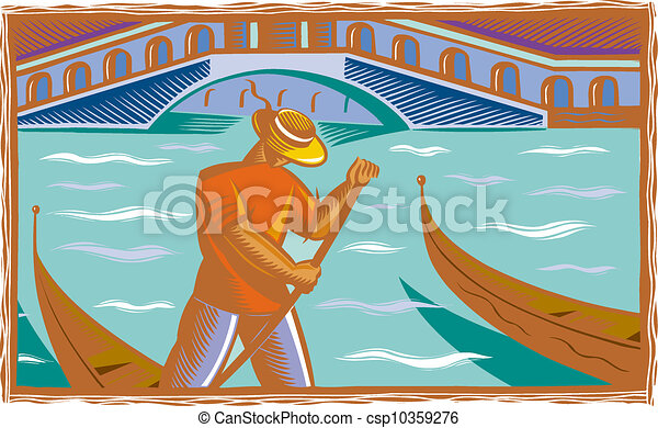 An illustration of a gondolier in Venice - csp10359276