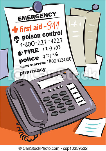 A list of emergency and medical numbers in front of a telephone - csp10359532