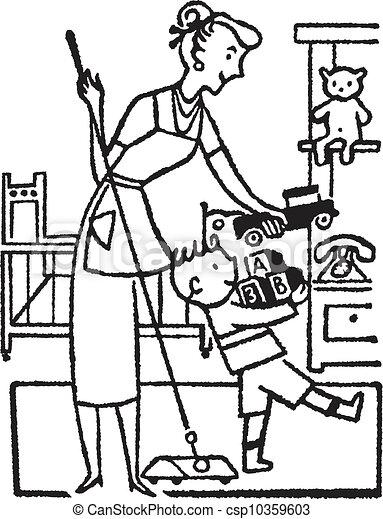 Stock de ilustration de un negro blanco versi n mujer - Ordenar habitacion ninos ...