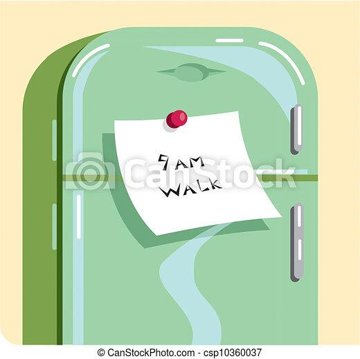 A note saying \9AM WALK\ stuck on a refrigerator - csp10360037