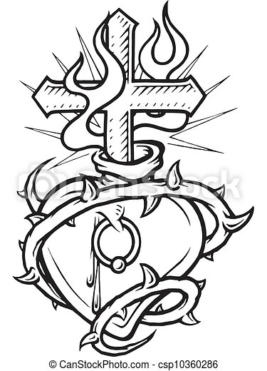Stock illustration of a black and white version of a for Coloring pages of hearts on fire