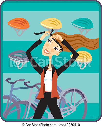 Putting On a Bike Helmet Clip Art