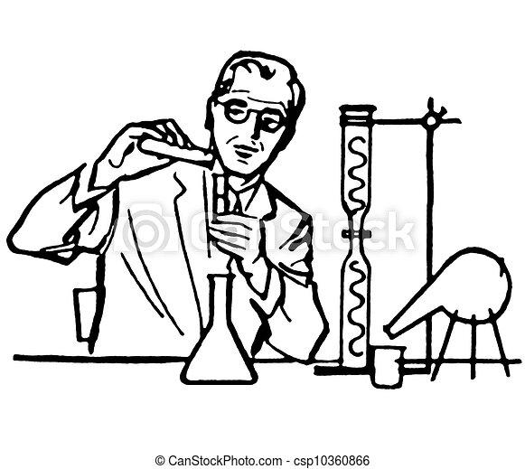 Illustration de a noir blanc version portrait scientifique csp10360866 recherchez des - Coloriage petit scientifique ...