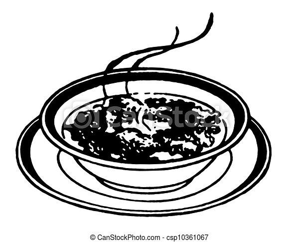 Illustration de bol, soupe, version, noir, impression ...