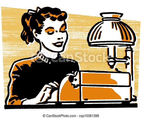 a, 若い, 女, 仕事, タイプライター - csp10361398 a, 若い, 女, 仕事